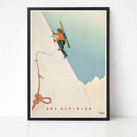 Plakat Ski Alpinism - grafika skialpinizm skitury narty freeride Tatry