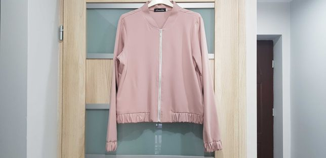 Bomberka kurtka elegancka casual bluza pudrowy róż
