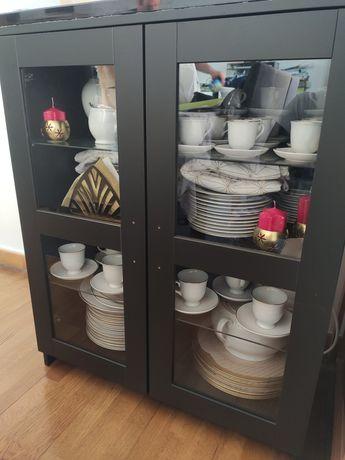 BRIMNES  IKEA Armário c/portas, vidro/preto