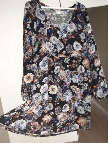 piękna sukienka kwiatowy wzór dekolt rozm M nowa
