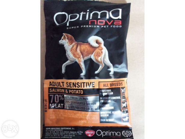 Raçao optima nova, adult sensitive, super premium, 65% de carne