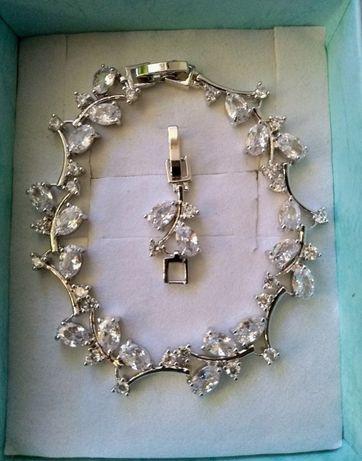 Bransoletka srebrny kryształ czerwony niebieski wesele dzień kobiet