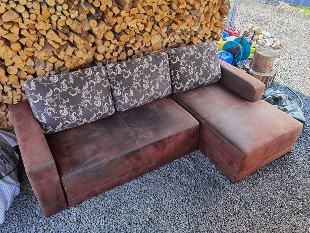 Narożnik rozkładany sofa rogówka wypoczynek brązowy zamsz