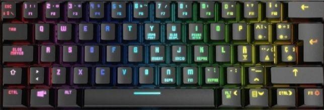 Mini teclado mecânico gaming krom kluster RGB bluetooth preto