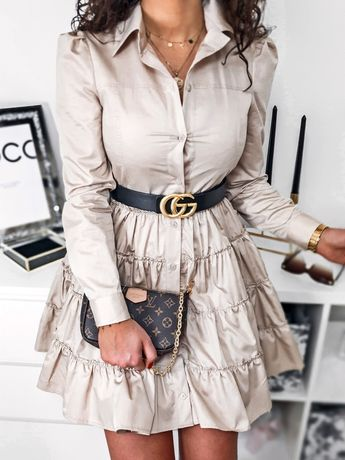 Sukienka beżowa POLSKI PRODUCENT wysoka jakość materiału S M L
