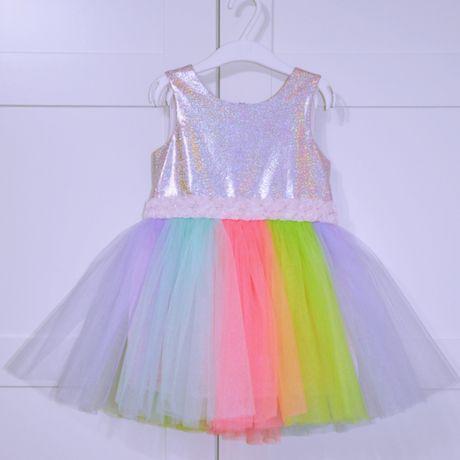 ПРОКАТ Платье карнавальное радуга. Размер 104см.