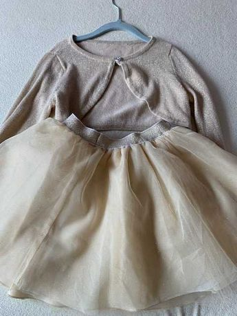 wójcik h&m złoty komplet bolerko i tiulowa spódniczka roz 122