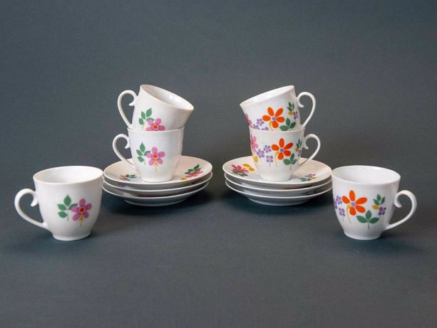 Serviço de café de 6 peças NOVO da SPAL em porcelana decoração floral