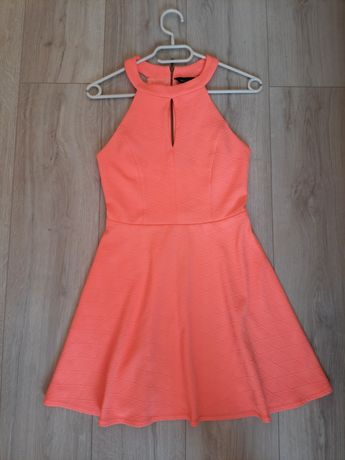 Sukienka letnia New Look 34 XS elegancka neonowa
