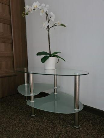 Stolik Ława Stół kawowy szklany z chromowanymi nogami