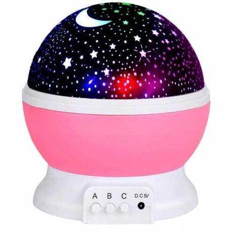 Obrotowa lampka nocna projektor gwiazd nieba 360