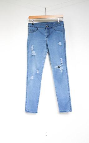 Tezenis niebieskie spodnie jeansy legginsy 38 M