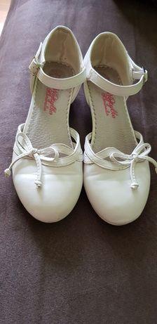 Buty komunijne rozm 33 skórzane białe