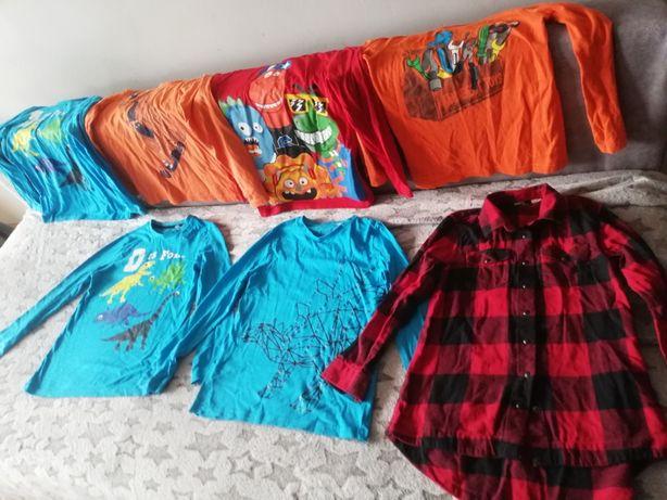 6 szt bluzek Dl rękaw plus flanelowa koszula 134/140