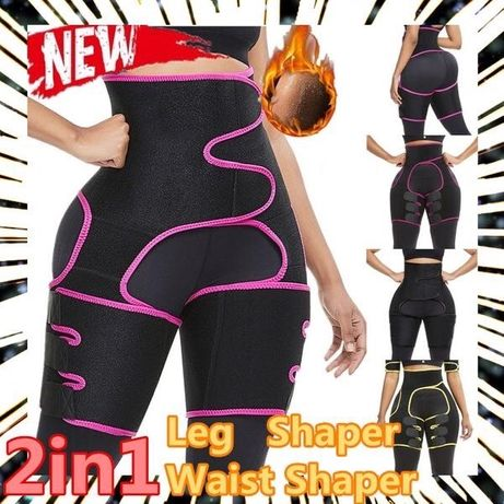 2 em 1 modelador cintura sauna suor, modelador coxa/perna