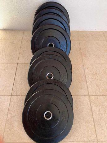Pesos Discos Bumper de Musculação (50mm) (Novos e Embalados)