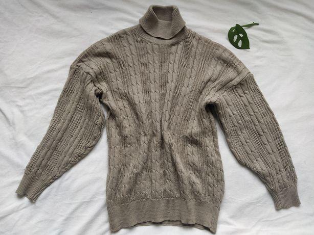 Beżowy sweter z golfem, obszerny, oversize do XL