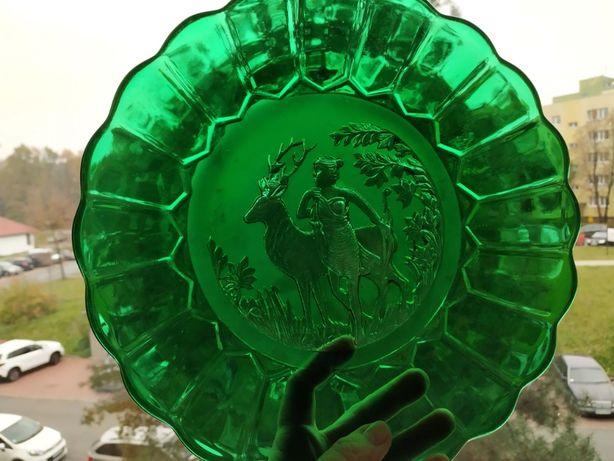 Talerz szklany z motywem św. Huberta, -Ząbkowice