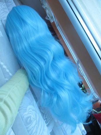 peruka niebieska falowana długa cosplay kuroko błękitna przebranie