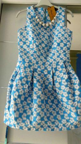 Nowa błękitna sukienka w kwiatki S/M