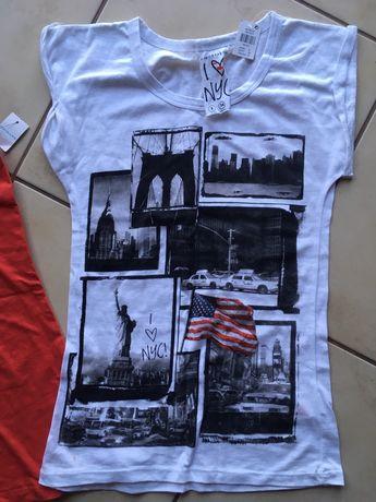 Nowe koszulki New York biała i czerwona bez rękawków