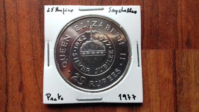 Moeda 25 Rupias Seychelles 1977 - Prata