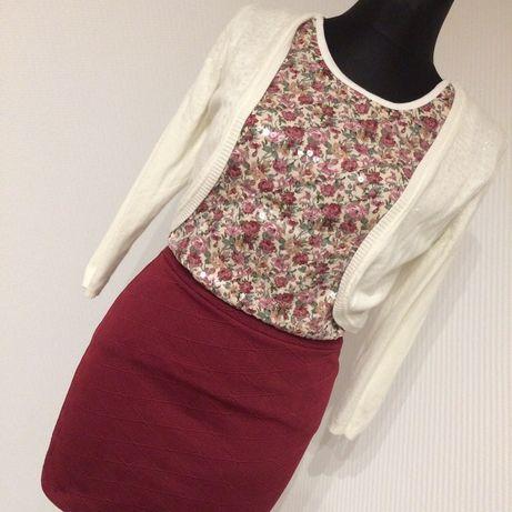 Zestaw ubrań spódnica bordo sweterek xs 34 H&M wigilia święta