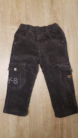Spodnie sztruksowe ocieplane polarem 86/92