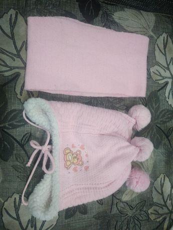 Зимний набор шапка и шарфик для девочки 3-6 лет
