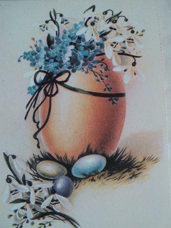 открытка Пасха Яйцо Великдень Незабудка Пролиски