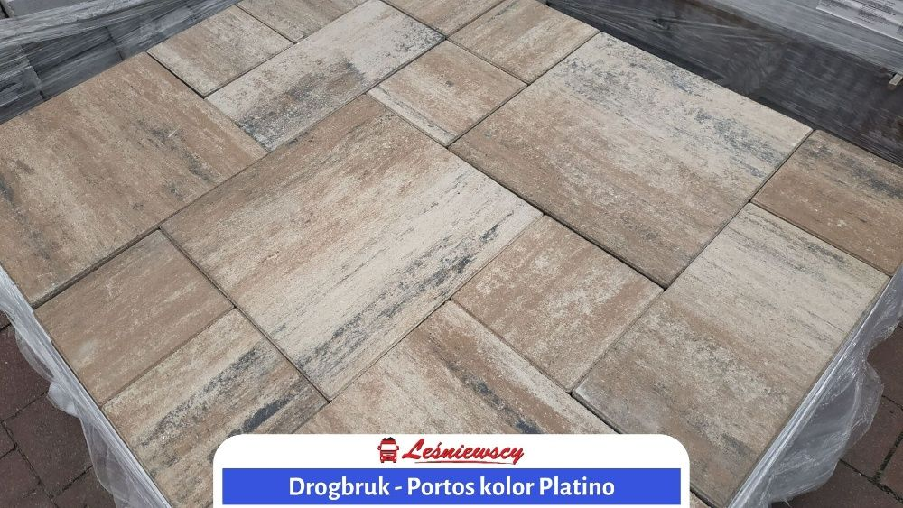 Kostka brukowa DROGBRUK-Portos PLATINO na taras/podjazd/schody 6cm