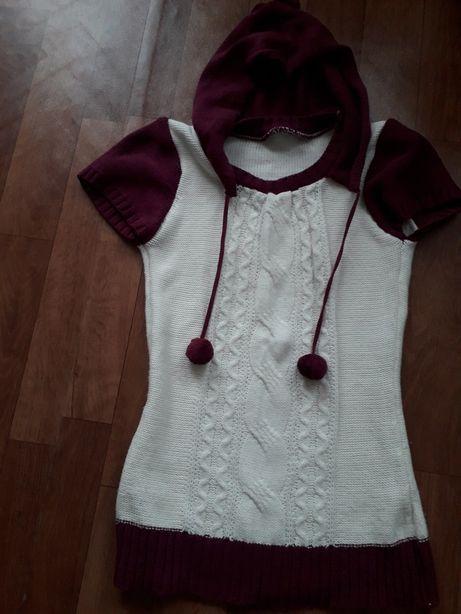Sweter sweterek 158 S 164 tunika ecri-fioletowy z pomponami