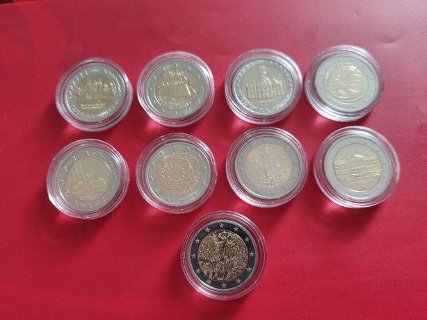 Okolicznościowe monety 2 euro 9 szt