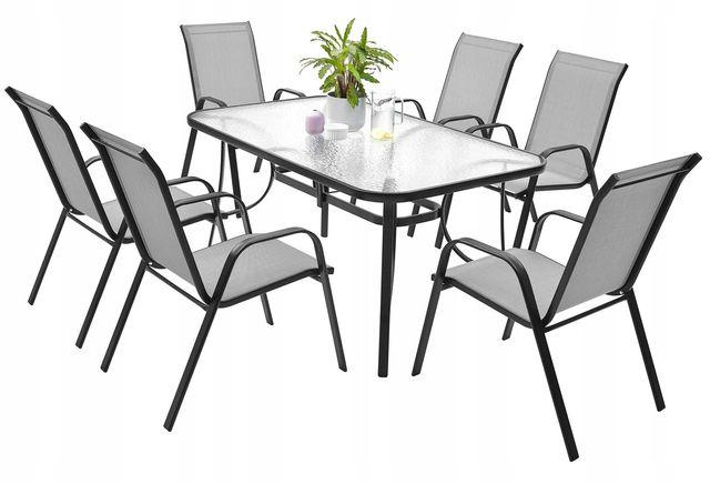 Meble Ogrodowe na Taras Balkon 6 krzeseł Ogrodowy Zestaw