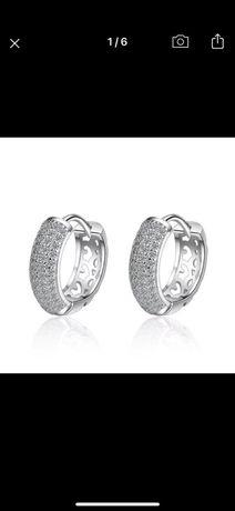Серебрянные серьги  кольца 925
