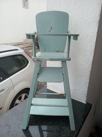 Cadeira bonecas madeira antiga 50 cm