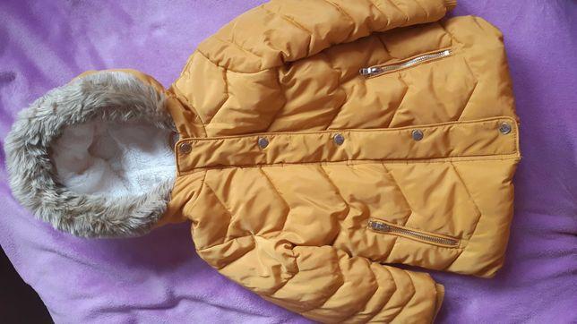 Zimowa kurtka musztardowa 3-4 latka