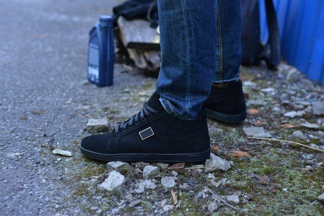 Элитные мужские ботинки зимнее!натуральная замша укороченные черные! З