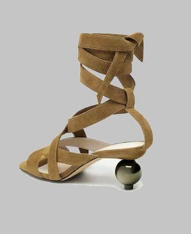 ZARA skórzane sandały na okrągłym obcasie w rozmiarze 39