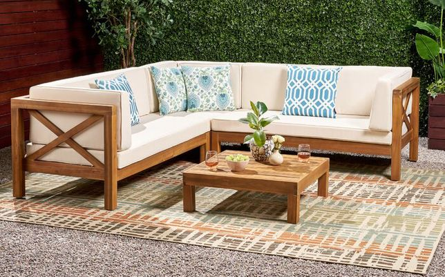 Набір садових меблів з 4 секцій з подушками