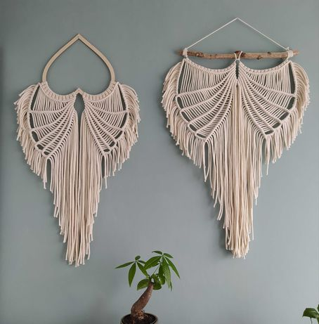 makrama skrzydła aniołek na sercu i na patyku rękodzieło boho handmade