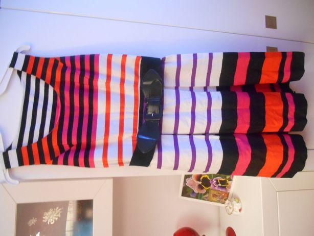 sukienka firmowa nowa M&co UK 12/40 w modne paski z paskiem