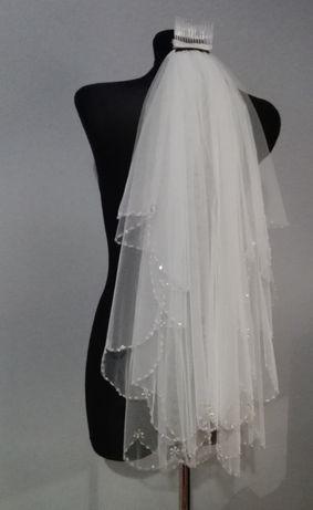 Welon ślubny z kryształkami ślub wesele panna młoda