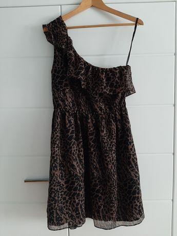 Sukienka na jedno ramię panterka r. 38 (M)