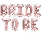 Balony Bride to be różowe złoto + serca i balony