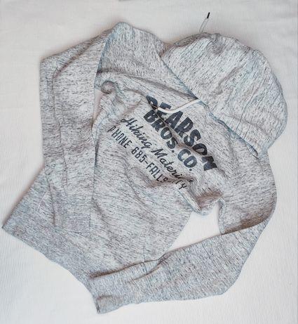 Szara bluza dresowa Bluza z napisami H&M melanż dres z kapturem