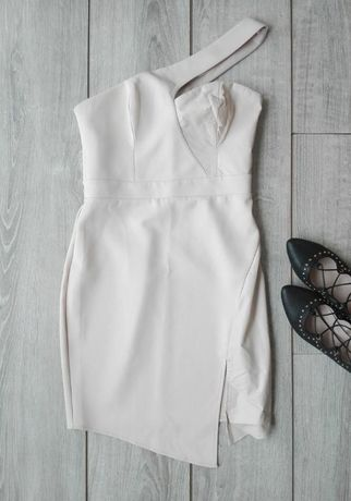 lipsy london beżowa sukienka prosta komunia wesele nude hit 38 40
