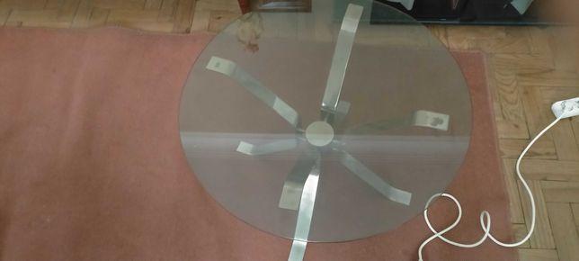 Mesa redonda de centro em inox e vidro temperado