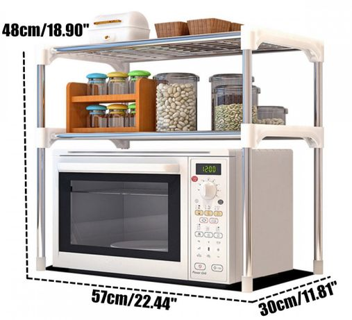 Настольный кухонный стеллаж под микроволновку с полками для посуды