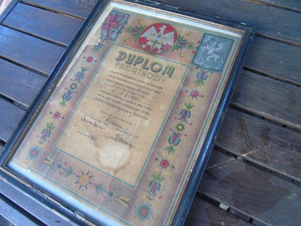 Dyplom 1937 rok Strajk Szkolny na Pomorzu